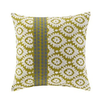 Harbor House Suzanna  Cotton Square Pillow w/ Embroidery, Green