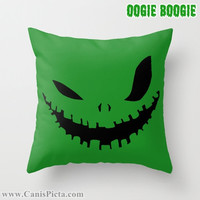 1Oogie Boogie Man Before Christmas Throw Pillow 16x16 Graphic Print Cover Halloween Autumn Fall Pumpkin Orange Green Disney Sack Monster