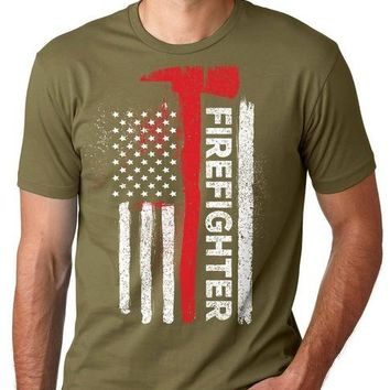 Firefighter - American Flag - T-shirt