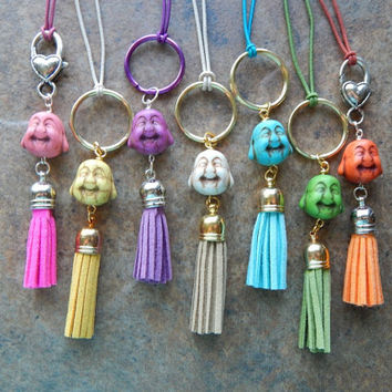 Stone Buddha and faux leather tassel charm zipper pull cute car accessory rear view mirror dangle key chain purse charm jewelry pink blue