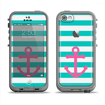 The Teal Striped Pink Anchor Apple iPhone 5c LifeProof Fre Case Skin Set