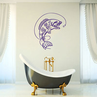 Fish On The Rod Vinyl Decal Wall Sticker Art Design Living Room Bathroom Modern Bedroom Nice Picture Home Decor Hall ki216