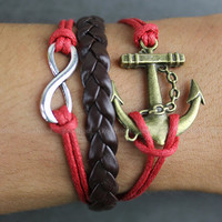 Jewelry bracelet of anchor bracelet bronze color brown leather bracelets red rope bracelets bracelets bracelets infinite hope