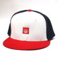 6 Panel Red White Blue Weed Leaf Hat