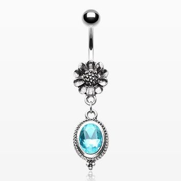 Vintage Daisy Brilliant Aqua Sparkle Belly Button Ring