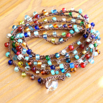 Colorful crochet wrap bracelet necklace, Multi colored, everyday wrap, lariat, long, bohemian glam, boho jewelry by OlenaDesigns