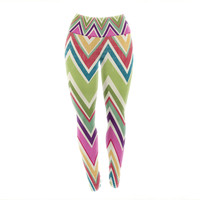 "Heidi Jennings ""Clash Of Color"" Rainbow Chevron Yoga Leggings"