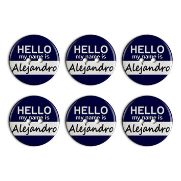 Alejandro Hello My Name Is Plastic Resin Button Set of 6
