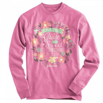 Cherished Girl Amazing Grace Flowers Girlie Christian Bright Long Sleeve T Shirt