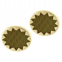 House of Harlow 1960 Jewelry Sunburst Button Earrings - Olive Exotic