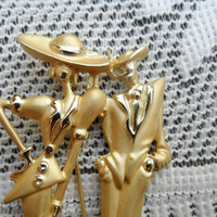 Vintage 40's Zoot Suit Couple Brooch Pin