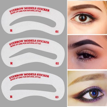 Professional Eye Brow Template Accessories Makeup Tool Kit 12 Pairs Disposable High Eyebrow Stencils Shaping Templates