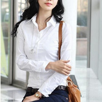 Women's Long Sleeve Office Tops Formal Work Shirts Lady's White Business Blouses women fashion Shirt lady cotton blouse #B5
