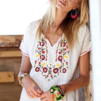 Floral Embroidered Ethnic Blouse With Tassel