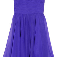 Halston Heritage Strapless ruched silk-georgette dress – 65% at THE OUTNET.COM