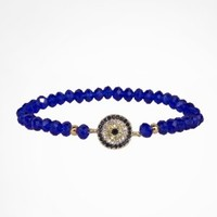 PAVE EVIL EYE AND FACETED BEAD STRETCH BRACELET