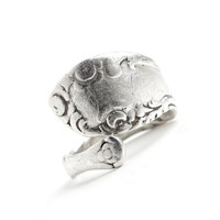 Vintage Sterling Silver Spoon Ring - Size 7 1/2 Retro Adjustable Flatware Jewelry / Statement Spoon