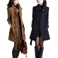 Autumn Winter Women's Elegant Coat Slim Double-breasted Coat Medium long coat with Belt OL office clothes