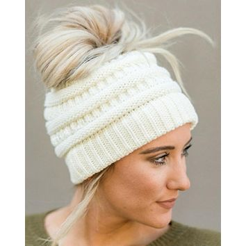 CC Knitted Messy Bun/Pony Tail Beanie Hat in Five Colors