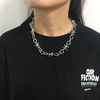 Wire Brambles Necklace Women Hip-hop Punk Style Barbed Wire Brambles Link Chain Choker Gifts for Friends Collares de Moda 2019