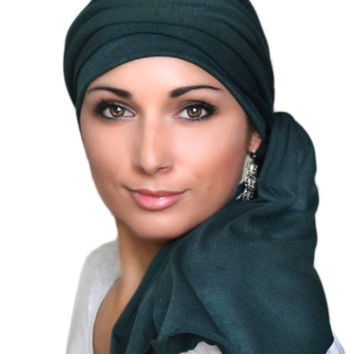Forest Green Jersey Turban, Head Wrap, Alopecia Scarf, Chemo Hat & Scarf Set