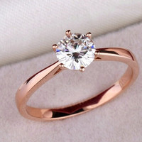 High quality 18K rose Gold Plated Classic 6 claws 1.2 carat  simulated diamond wedding rings for women