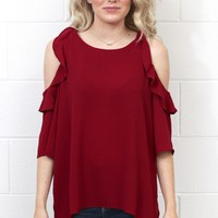 Ruffle Cold Shoulder Blouse {Burgundy} EXTENDED SIZES