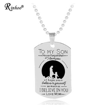 To My Son Mom Mother True Love Personalized Engraved Letters ID Tag Necklace & Pendant Beaded Chain Boy Jewelry Birthday Gift
