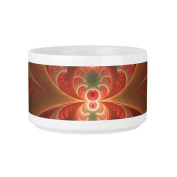 Luminous abstract modern orange red Fractal Bowl