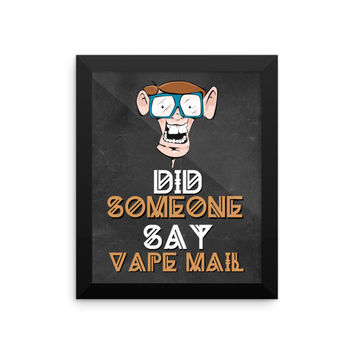 Funny Buck Tooth Nerd Vape Mail Framed Poster