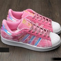 """""""Adidas"""" SUPERSTAR Fashion Winter Suede Pink Sneakers"""