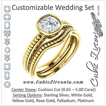 CZ Wedding Set, featuring The Cheyenne engagement ring (Customizable Cushion Cut Bezel-set Solitaire with Beaded Filigree Three-sided Band)