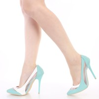 Turquoise Two Tone Pointy Singe Sole Heels Faux Leather