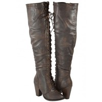 Women Boots Over Knee High Heels Fashion Lace up Sexy Cute Design Brown Color