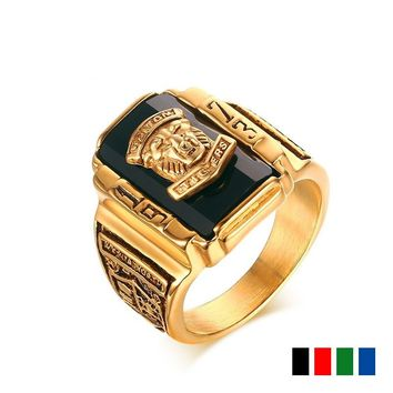 Gold Plating Punk Ring Walton 1973 Tiger Head Black CZ Titanium Square Rings Men Stainless Steel Vintage Rock Party Cool Jewelry