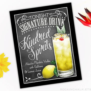 Wedding Decoration | Signature Drink Sign | As-Is or Personalized Wedding Keepsake Gift | Kindred Spirits Vodka and Galliano Cocktail Sign