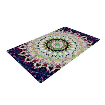 "Iris Lehnhardt ""Summer of Folklore"" Pink Navy Woven Area Rug"