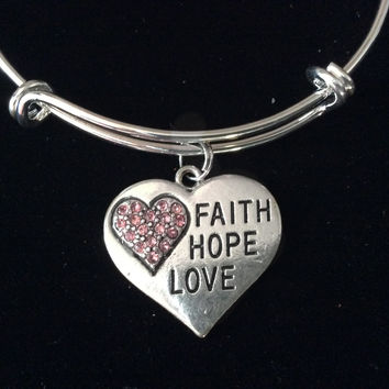 Faith Hope Love Pink Crystal Heart Expandable Charm Bracelet Silver Adjustable Bangle Trendy Gift