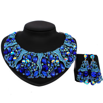 Luxury High quality full rhinestones necklace and earrings sets imitation sapphire bridal wedding jewelry sets