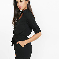 Black Long Sleeve Portofino Romper