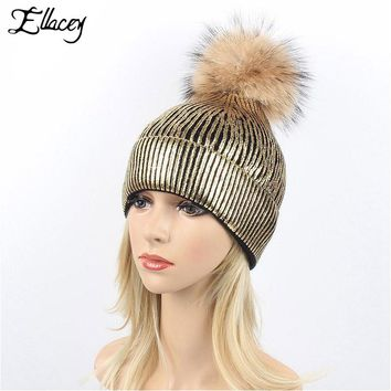 Ellacey 2017 Autumn Winter Real Raccoon Hair Ball Beanies Hat Women Golden Bronzing Warm Knitted Cap Fur Pompom Christmas Hats