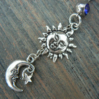 The sun and moon belly ring dark blue stones stars sun moon goddess celestial  boho belly dancer pagen gypsy tribal fusion and hipster style
