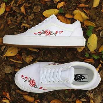 Vans Rose Embroidery Canvas Old Skool Flats Sneakers Sport Shoes-1