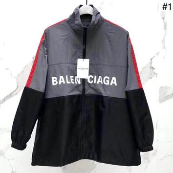 Balenciaga 2019 new letter print stitching loose mid-length jacket trench coat #1