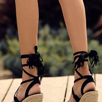 Cali Black Suede Lace-Up Espadrille Wedges