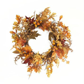 2 Pumpkin Thanksgiving Wreaths - Pumpkins, Squash And Seasonal Berries