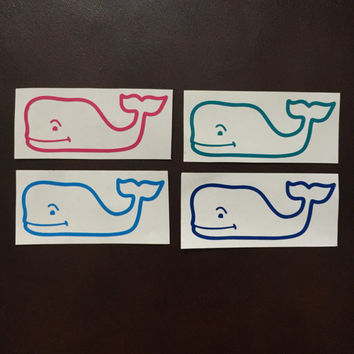Vineyard Vines Whale Vinyl Decal. Sorority Big/Little or Fraternity gift, Stickers for laptops, phones, cars, planners, water bottles, etc