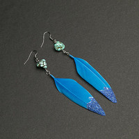 Blue earrings Feather earrings with african turquoise gemstone Blue glitter Native american Ethnic earrings Tribal earrings Summer earrings