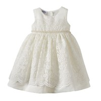 Blueberi Boulevard Beaded Floral Lace Dress - Baby Girl, Size: