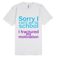 I can't go to school-Unisex White T-Shirt